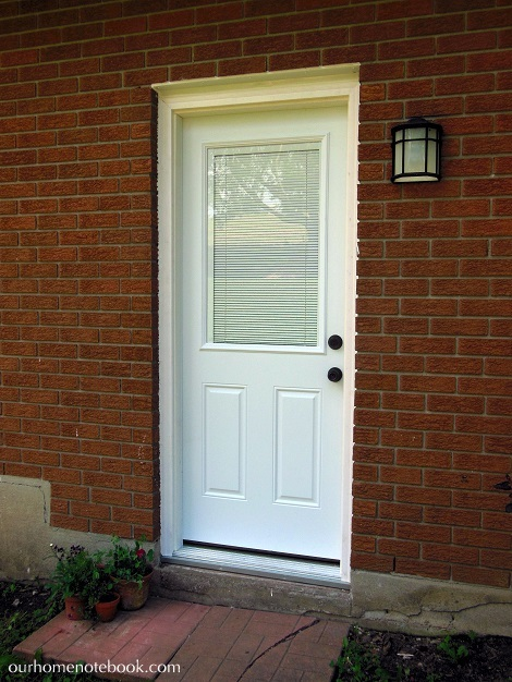 installing a exterior door after with blinds