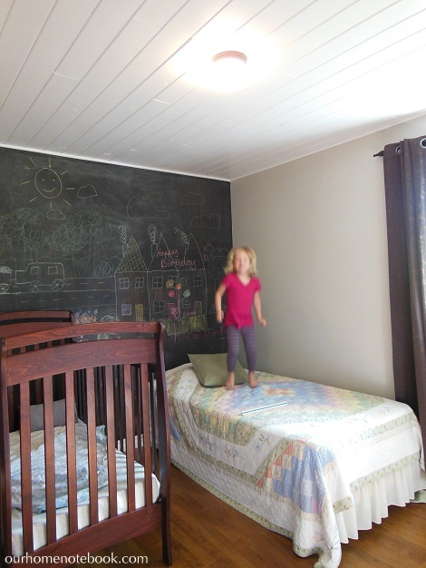 Kids Room After - Emma jumping on bed